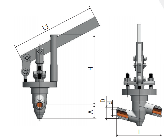 Regulating needle valve with lever actuation 9с-5-2 picture